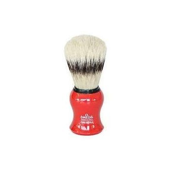 Omega Red Curved Boar Hair Shaving Brush with Stand - #80265R