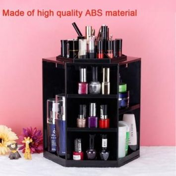 Qiilu 360-Degree Rotating Makeup Organizer, Adjustable Multi-Function Cosmetic Storage Unit, Compact Size with Large Capacity, Fits Different Types of Cosmetics and Accessories(black)