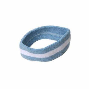 New Striped Sports Single Headband- Light Blue/White