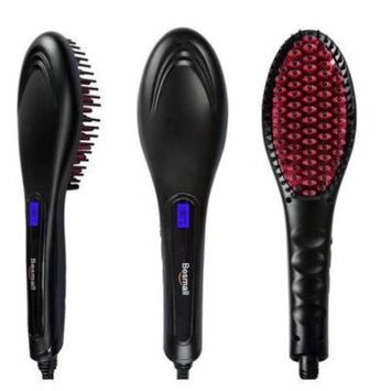 Besmall Electric Hair Straightening Brush Black Hair Straightener Hair Styler Black & Red