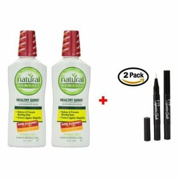 Natural Dentist Healthy Gums Peppermint Twist Antigingivitis Rinse, 16.9 Ounce PK/2 + 2 Teeth Whitening Pens