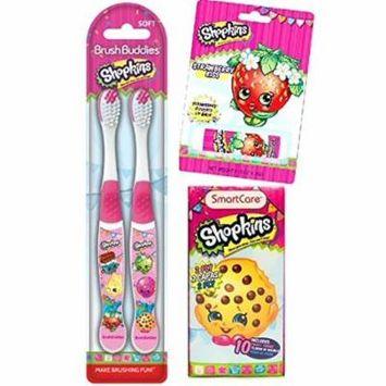Shopkins Lip Balm, 10 Ct Pocket Tissues, and 2 Brush Buddies Toothbrushes Gift Set
