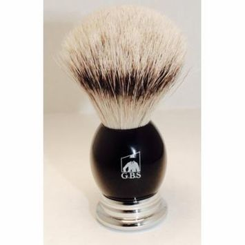 GBS 100% Silvertip Badger Bristle Shaving Brush Black Handle with Chrome Base Comes with Free Stand from GBS