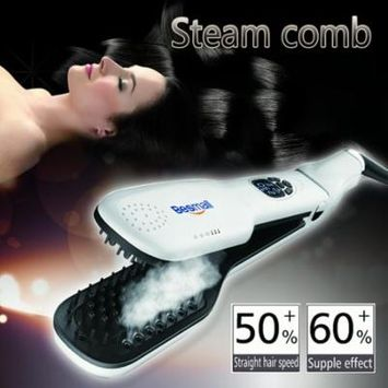 Besmall Hair Straightener Hair Straightening Brush Steam Iron Double Plate Brush Clip Steam Comb with Removable Water Reservoir