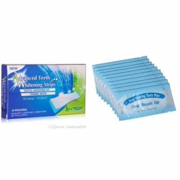 3D Teeth Whitening Strips Advanced Cleaning 28 Count + 100 PCS Finger Toothbrush Wipes for Oral Brush Ups Mint Flavor