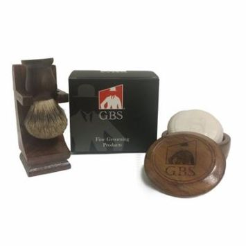 Men's Grooming Set - Comes with Gift Box - Wood Mug Shaving Bowl, 100% Pure Badger Brush,wood Brush Stand and 97% All Natural Gbs Ocean Driftwood Shave Soap