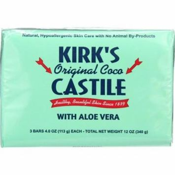 Kirks Natural HG1702729 0.75 oz Bar Soap Coco Castile, Aloe Vera - Pack of 3