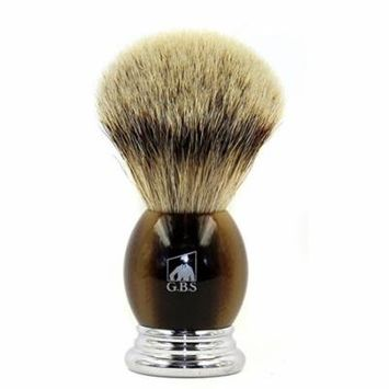 GBS 100% Silvertip Badger Bristle Shaving Brush Light Horn Color & Free Chrome Brush Stand