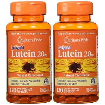 Puritan's Pride 2-pack of Lutein 20 Mg with Zeaxanthin-120 Softgels (240 Total)