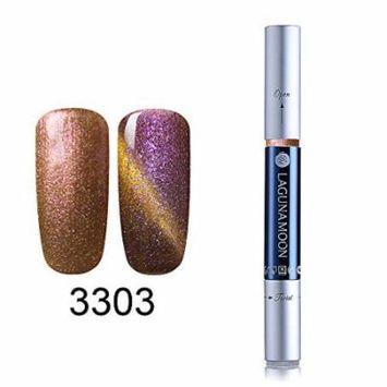Gel Nail Polish Pen, Starry Cat Eye Effect Soak Off Gel Nail Polish Pen Glitter Color 3303