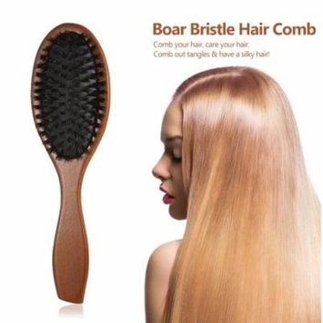Anself Natural Boar Bristle Hair Brush Comb Oval Anti-static Paddle Hair Extension Brush Scalp Massage Beech Wooden Handle
