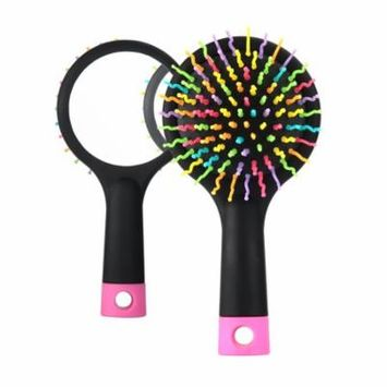 Rainbow Portable Detangling Hair Brush With Back Mirror for Wet Or Dry Hair (S-Curl, Black)