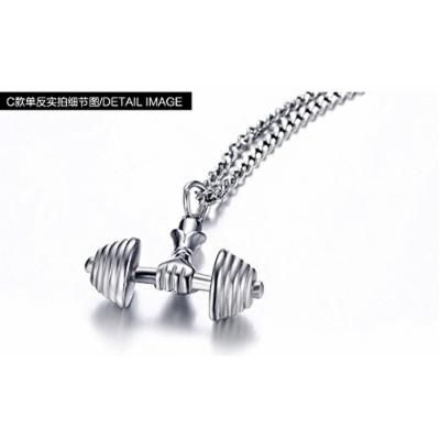 Generic Fitness_ dumbbell _barbell_ new fashion men's necklace pendant _influx_of_ men man boy _domineering_ steel hanging pendant necklace clavicle couple