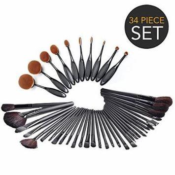 34-Piece Ultimate Hollywood Makeup Brush Set - Super Soft Cosmetics Foundation Blending Blush Eyeliner Face Powder Brush