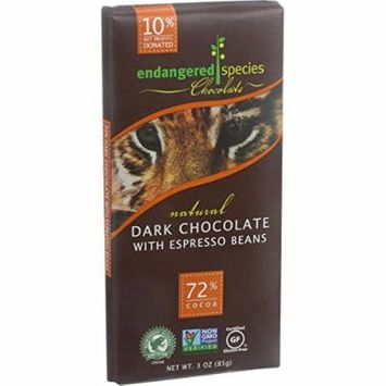 Endangered Species Natural Chocolate Bars - Dark Chocolate - 72 Percent Cocoa - Espresso Beans - 3 oz Bars - Case of 12 - Dairy Free -