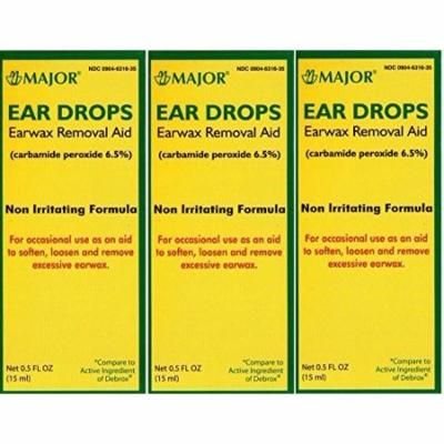 Ear Drops Earwax Removal Aid Carbamide Peroxide 6.5% Generic for Debrox - 0.5 oz. (15 ml) Per Bottle Pack of 3 Total 1.5 oz. by Major Pharmaceuticals