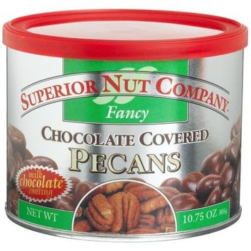 Superior Nut Fancy Chocolate Covered Pecans, 10.75-Ounce Canisters (Pack of 4)