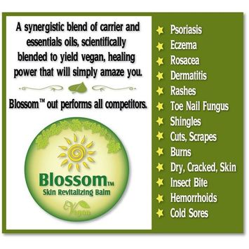 Blossom Balm - Multipurpose All Vegan Skin Care Formula For Wounds, Burns, Shingles, Hives, Eczema, Psoriasis, Fungal Infections and More - Instant Relief From Pain, Itch, Redness and Swelling [2oz]