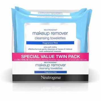 4 Pack - Neutrogena Makeup Remover Cleansing Towelettes & Wipes, Twin Pack, Fragrance Free 50 ea
