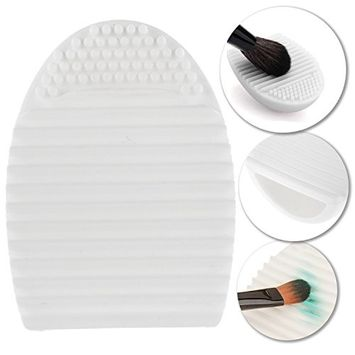 Silicone Gel Cosmetics Make Up Brushes Oval / Egg Shaped Washing / Cleaning Mini Finger Glove / Scrubber / Board / Makeup Applicators Cleaner / Scrubbing Tool In White Color