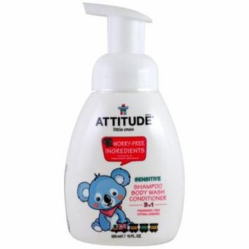 ATTITUDE, Little Ones, 3 in 1 Shampoo, Body Wash, Conditioner, Fragrance Free, 10 fl oz(pack of 6)
