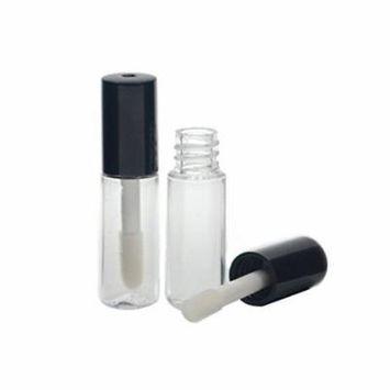 10Pcs 1.2ML Mini Reusable Empty Clear Plastic Lip Gloss Balm Tube Bottle DIY Lipstick Container Vials (Black)