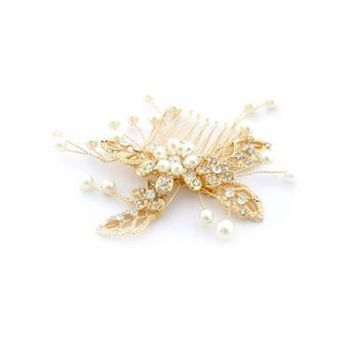 Fashion Hair Accessory Gold Plating Faux Pearl Flower Hair Comb