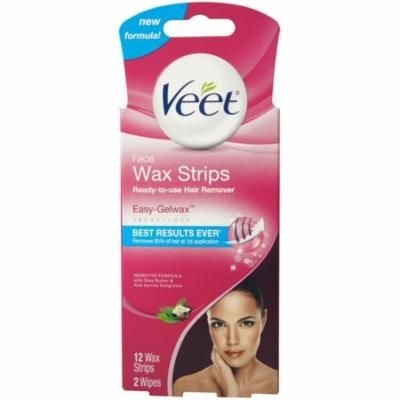 4 Pack - VEET Ready-To-Use-Wax-Strips Hair Remover Face 12 ea