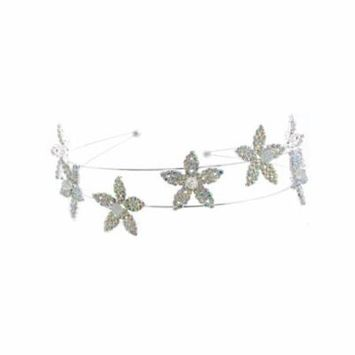 Silver Plating Metal Aurora Borealis Hair Band Headband
