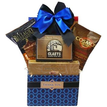 Thank You Desk Caddy Coffee and Treats Gift Basket (Candy Option)