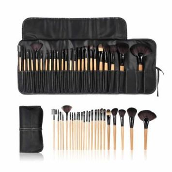 Anself 24Pcs Professional Makeup Brush Cosmetic Brushes Kit Powder Eyeshadow Eyeliner Eyebrow Brush with Pouch Bag Case