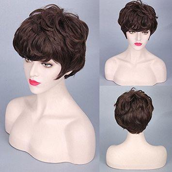 FESHFEN Gray Wig Harajuku Gradient Daily Granny Gray Grey Stylish Cosplay Wig Short Grey Hair Wig For Men Women