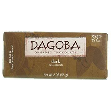 Dagoba Organic Chocolate Bar - Semisweet Dark Chocolate - 59 Percent Cacao - 2 oz Bars - Case of 12 - 95%+ Organic - Gluten Free - Wheat Free - Kosher