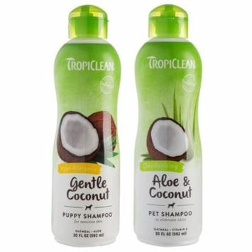 TropiClean Deodorizing Aloe & Coconut Pet Shampoo and Hypo Allergenic Gentle Coconut Puppy Shampoo