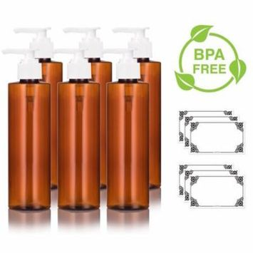 Amber PET Plastic (BPA Free) Refillable Cylinder Round Bottle with White Lotion Pump - 8 oz (6 pack) + Labels