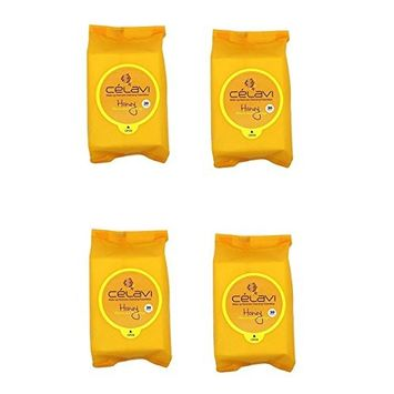 (VALUE PACK OF 4) CELAVI MAKEUP REMOVER CLEANSING WIPES REMOVING TOWELETTES - HONEY: Beauty