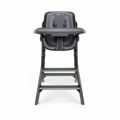 4moms high chair - easy to clean with magnetic, one-handed tray attachment, black/grey