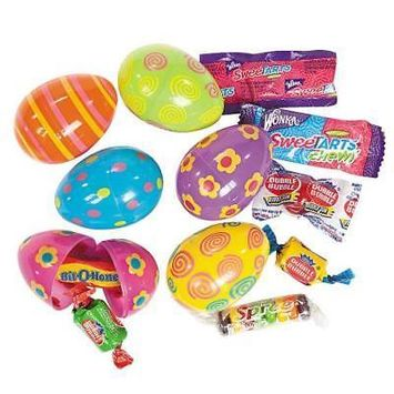 IN-37/381 Bright Candy-Filled Printed Plastic Easter Eggs - 24 Pc.