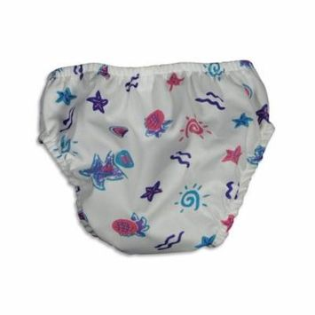 My Pool Pal - Baby Girls Starfish Reusable Swim Diaper WHITE / Large