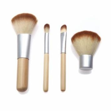 Anself 4PCS Bamboo Handle Makeup Brush Set Cosmetics Kit Powder Blush Brushes