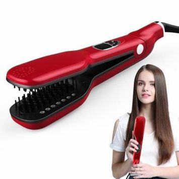 Hair Straightening Steam Comb Brush, LED Display Temperature Adjustable Tourmaline Heating Anti Static Double Ceramic Ion Comb Teeth Clip Plates Hair Straightener Styling Tool (Red)