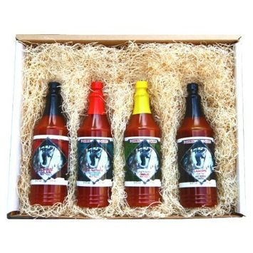 Zombie Cajun Hot Sauce Gift Set, Gourmet Basket Includes 4 (6oz) Bottles of the Best Louisiana Hot Sauce - Garlic, Jalapeno, Habanero, and Cayenne Pepper, Plus a Zombie Gifts Book
