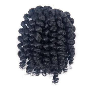 3 Packs 2X Ringlet Wand Curl Jamaican Bounce 8 inch Synthetic Crochet Hair Extensions Havana Mambo Twist Braiding Hair 20 Roots (#1B)