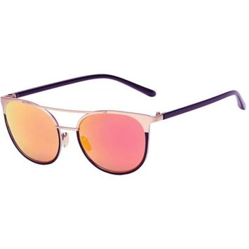 OWL Eyewear Sunglasses 86026 C5 Women's Metal Fashion Black Gold Frame Purple Mirror Lens