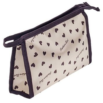 Washable And Durable, Nylon Beauty And Make Up Cosmetics Pouch / Bag / Case for Makeup Utensils And Toiletries With Little Black Hearts Design By VAGA