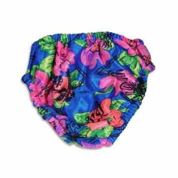 My Pool Pal - Baby Girls Flowers Reusable Swim Diaper Blue Flowers / Large