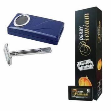 Shaving Factory Double Edge Razor + Derby Premium Super Stainless Double Edge Razor Blades, 100 Count