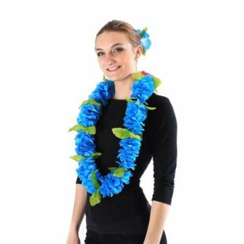Hawaii Luau Party Artificial Fabric Royal Lei and Single Large Hibiscus Hair Clip Set Blue