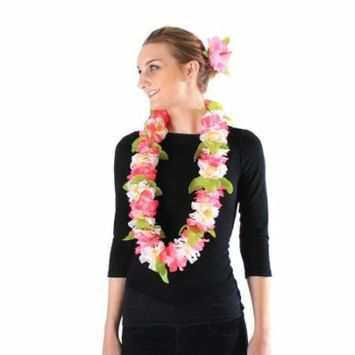 Hawaii Luau Party Artificial Fabric Royal Lei and Single Large Hibiscus Hair Clip Set Pink White