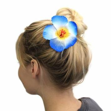 Hawaii Luau Party Dance Artificial Foam Round Hibiscus Hair Clip White with Blue Edge